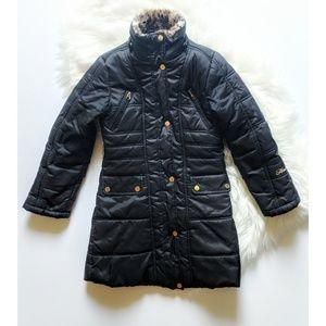 Hawke & Co Outfitters Girls Long Black Puffer Coat